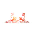 husband and wife sitting in lotus position vector image vector image