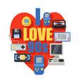 i love 90s retro symbols banner poster vector image