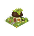 isometric cartoon fantasy mushroom village house vector image vector image