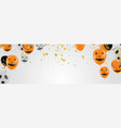 lettering happy halloween design with balloons vector image vector image