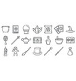magic wizard tools icons set outline style vector image vector image