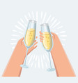 male and female hand holding champagne glasses vector image vector image