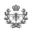 monochrome with bee imperial crown vector image vector image
