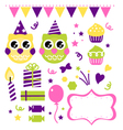 Owl birthday party design elements set vector image