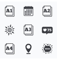 Paper size standard icons Document symbol vector image vector image
