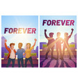 posters friends forever with happy people vector image vector image
