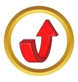 Red curved arrow icon vector image vector image