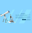 research web banner with telescope and microscope vector image vector image
