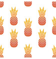 seamless pattern pineapples with leaf tropical vector image