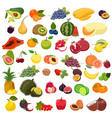 set fruits isolated on a white background vector image