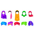 set turban and hijab headwear for men and women vector image