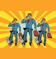 several businessmen with telephone marching vector image vector image