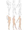 Stylized figures standing naked women