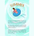 summer poster text sample woman in bikini swim vector image vector image