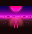 the road to infinity at sunset vector image vector image