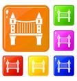 tower bridge icons set color vector image vector image
