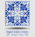 vintage ceramic tile in azulejo design with blue vector image vector image