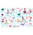 winter pattern with snowmen tree and gifts vector image vector image