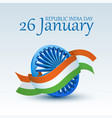 happy indian republic day celebration 3d ashoka vector image