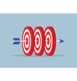 Arrow hitting center of the three targets vector image