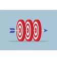 arrow hitting center three targets vector image