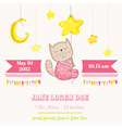 Baby Girl Cat Sleeping on a Star - Baby Shower vector image vector image