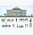 bank building exterior in city space and public vector image vector image
