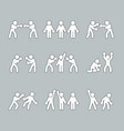 boxing stick figures on grey vector image vector image