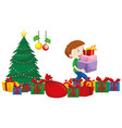 boy with present boxes under christmas tree vector image vector image