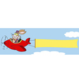 Bunny flying a plane with banner vector image vector image