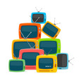cartoon color different types retro tv pile vector image vector image