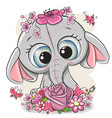 cartoon elephant with flowerson a white background vector image