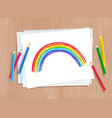 child drawing rainbow arc vector image vector image