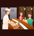 customers ordering sushi vector image