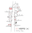 cute baanimal with tree cartoon hand drawn vector image vector image