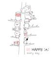 cute baby animal with tree cartoon hand drawn vector image vector image