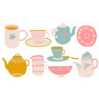 cute coffee or tea set design elements with vector image