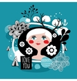 Cute print with abstract shapes and portrait of vector image