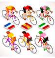 Cyclists 2016 Tour Isometric People vector image vector image