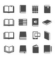 different books black glyph icons set vector image vector image