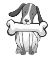 Dog with piece of bone vector image