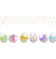 easter banner with painted easter eggs vector image
