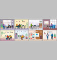 employees in office engaged in various activities vector image vector image
