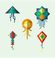 flying kite wind fun toy fly vector image vector image