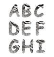 Font zebra letter A -I vector image