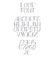 Freehand handdrawn loop alphabet isolated on vector image