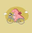 funny cartoon dinosaur on a bicycle cute dragon vector image
