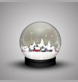glass dome winter in wooden house on christmas vector image