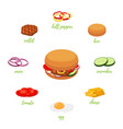 hamburger menu with different ingredients vector image