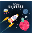 lets go universe rocket alien planet background v vector image